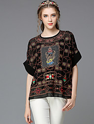 Women's Round Neck Embroidery Blouse , Spandex/Polyester Short Sleeve Women's Neckline Design Tops Type