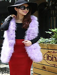 Turkey feather sleeveless long encryption vest in cape fur coat