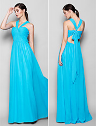 Lanting Floor-length Chiffon Bridesmaid Dress - Pool Plus Sizes / Petite Sheath/Column Halter