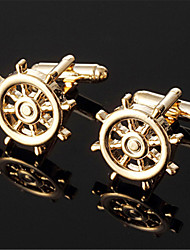 Men's Sailing Wheels Logo Round Golden Wedding Suit Shirt Cufflinks