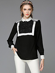 Women Fashion Autumn Luxury Vintage Bead Pearl Patchwork Loose Plus Size Long Sleeve Blouse Shirt Tops