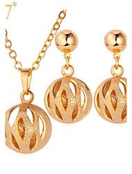 Бижутерия 1 ожерелье 1 пара сережек Свадьба Для вечеринок Повседневные Золотистый 1 комплект Женский Золотой Свадебные подарки