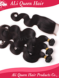6a malaisien vague de corps de cheveux d'Ali produits capillaires queen avec 1pcs 4 * 4 suisses fermetures de dentelle 100% de cheveux