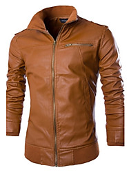 Men's Casual Long Sleeve Regular Jacket (PU)