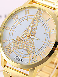 mulheres relógios mulheres relógio de ouro moda liga eiffel torre do relógio de quartzo