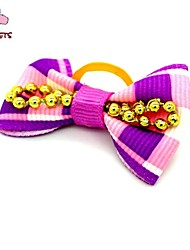 FUN OF PETS®  Cute Ribbon Style Golden Bead Decorated Rubber Band Hair Bow for Pet Dogs  (Random Color)