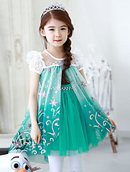 Girl's Cotton/Polyester Sweet Leisure Lace Short Sleeve Dress