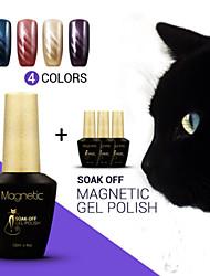 Azure 4Pcs/Lot Magnetic Cat Eye Color Nail Gel  Soak Off UV Gel Polish Magic Nail Polish (#51+#52+#53+#54)