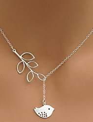 Women's Silver Leaves Birds Short Necklace