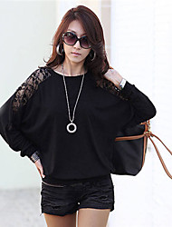 Women's Round Neck Lace T-shirt , Lace Knitwear Long Sleeve