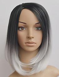 europe et aux états-unis la nouvelle perruque courte cheveux raides noir et blanc gradient de bobo