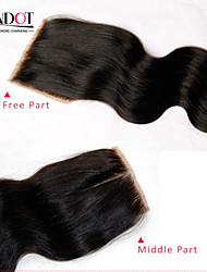 Indian Silk Base Closure Body Wave Size 4x4 Natural Black Free Middle 3 Part Virgin Human Hair Silk Lace Top Closures