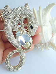 3.94 Inch Gold-tone Clear Rhinestone Crystal Lizard Brooch Pendant Art Decorations