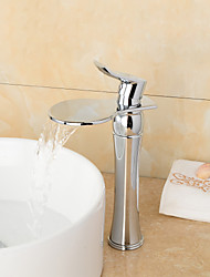 High Quality Chrome Finish Large Wide-mouth Waterfall Bathroom Sink Faucet (Tall) - Sliver