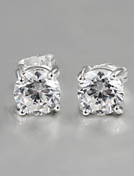 2015 New Products Italy Style Silver Plated Stud Earrings for Lady with Shine Zircon Gift for lovers