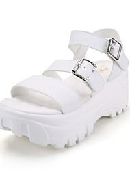 Zapatos de mujer - Plataforma - Plataforma - Sandalias - Vestido / Casual - Semicuero - Negro / Blanco