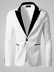 Blazer Hommes,Couleur Pleine Décontracté / Quotidien Travail Habillées Manches Longues Coton Autres