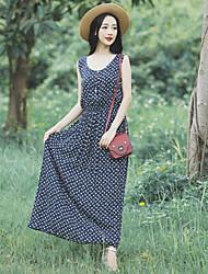Women's Beach/Casual/Print/Party/Work/Maxi Preppy Chic Sleeveless Maxi Dress (Chiffon)