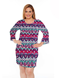 Women's Plus Size Floral Dress Large Size Print  Casual Club Dress Long Sleeve