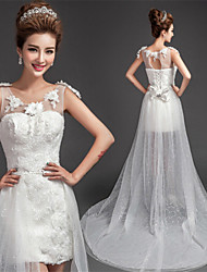 Sheath/Column Wedding Dress-White Asymmetrical Scoop Lace