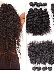 3pcs viel brasilianisches reines Haar # 1b verworrenes lockiges Haar mit 1pcs Spitzeschliessen menschliches Haar lockig tiefe Welle