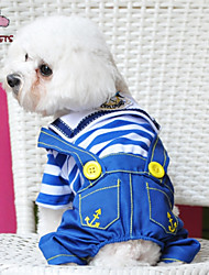 Dog Clothes/Jumpsuit Red Blue Dog Clothes Winter Spring/Fall Jeans Cute Fashion