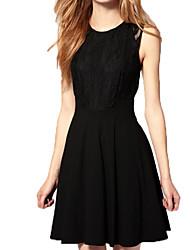 elegante laço de união oco sem mangas das mulheres vestido preto plissado