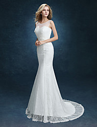 Mermaid / Trumpet Illusion Neckline Sweep / Brush Train Lace Wedding Dress with Sash / Ribbon by MDHS