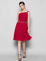Lanting Knee-length Chiffon Bridesmaid Dress - Burgundy Plus Sizes / Petite A-line One Shoulder