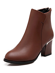 Women's Shoes Chunky Heel Fashion Boots/Round Toe Boots Dress Black/Brown/Navy