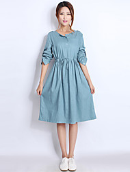 Women's Solid Dress , Casual Round Neck Long Sleeve Button
