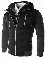 Men's Dailywear Date Classic Fall/Autumn Jacket,Solid Solid Color Hooded Long Sleeve Regular N/A