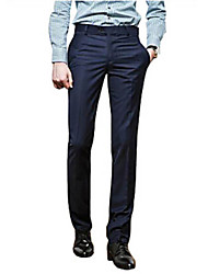 Men's Casual/Work/Formal Pure Black/Navy Suits Pants (Cotton/Microfiber)