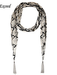 D Exceed Fashion Jewelry Scarves Noble Serpentine Print Chiffon Winter Scarf Necklaces For Women's Tassels Scarfs