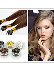 """18 """"-30"""" anillos nano extensiones de cabello 1g / strand 100g / pack # 1b, # 2, # 4, # 6, # 8, # 27, # 613, extensión del pelo de fusión"""
