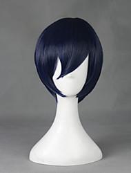 Perruques de Cosplay Cosplay Cosplay Bleu Encre Court Anime Perruques de Cosplay 30 CM Fibre résistante à la chaleur Masculin / Féminin