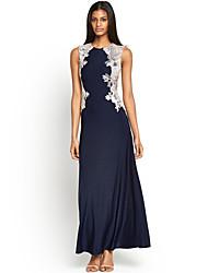 Women's Crochet Lace Stylish Sleeveless Gown Long Dress