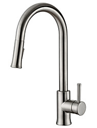 Traditional Solid Brass Single Handle Pull Down Kitchen Faucet Brushed Nickel