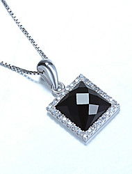 Sterling Silver Pendant Necklace Sterling Silver Jewelry Wholesale Star with a Square Black Onyx Sterling Silver Pendant