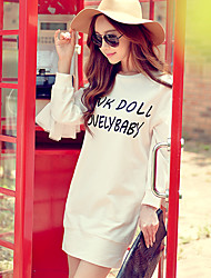 Pink Doll®Women's Round Neck Casual Letter Straight Long Sleeve Dress