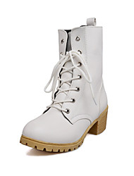 Women's Shoes Chunky Heel Fashion Boots/Motorcycle Boots/Round Toe Boots Dress/Casual Black/White/Beige