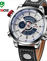 WEIDE Men Fashion Sports Military Army Dual Time Display Leather Strap Wrist Watch