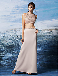 Formal Evening Dress - Two Pieces Sheath / Column Jewel Floor-length Sequined / Jersey with Sequins