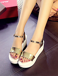 Women's Shoes Wedge Heel Platform Creepers Comfort Sandals Gold/Silver