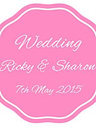 Personalized Wedding Tags Address Labels Envelope Sticker Horizontal Pink Circular Pattern Of Filmed Paper
