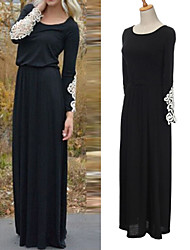 Women's Solid Color Black Dresses , Bodycon Round Long Sleeve