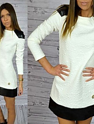 Women's Patchwork White Dresses , Bodycon Round Long Sleeve