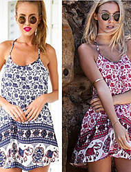 Lisha   Women's Vintage/Sexy/Beach/Casual Off-the-shoulder/Straps Sleeveless Dresses (Chiffon)
