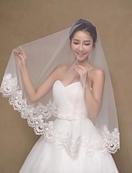 Véus de Noiva Uma Camada Véu Ponta dos Dedos Borda com aplicação de Renda Tule / Renda Marfim