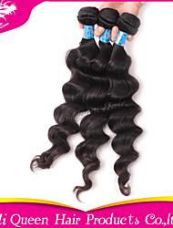 Ali Queen Hair products  6A Peruvian Hair Bouncy Wave  Natural Black Hair 3pcs/Lot 100% human hair extensions